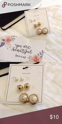 Earrings bundle Brand new gold tone earrings with pearls. Nickel free Jewelry Earrings