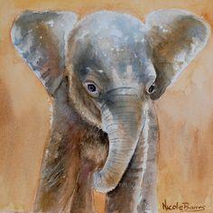 Baby Elephant, Baby room decor, baby wall art Print, Elephant Art,  Nursery decor,  PRINT  watercolor painting, FREE Shipping - pinned by pin4etsy.com