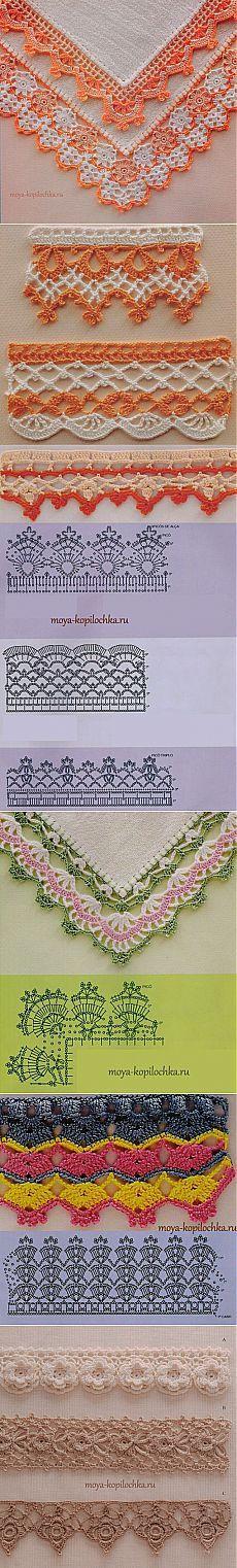 42 образца вязаного кружева для отделки края изделия со схемами.