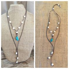 Great looking necklace featuring turquoise, freshwater pearls and leather! This leather and pearl jewelry offers a layered look in one simple necklace. Beautiful, polished turquoise drop is adorned wi