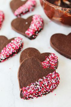 Chocolate Shortbread Heart Cookies: Our heart is going pitter-patter over these chocolate shortbreads. They're simple and sweet, but the decorating possibilities are endless, so use your creativity — and lots of sprinkles. (via Two Peas and Their Pod)