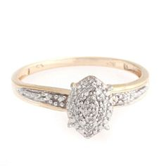 14K Yellow Gold Over White Round Natural Cluster Diamond Accent Engagement Ring by JewelryHub on Opensky