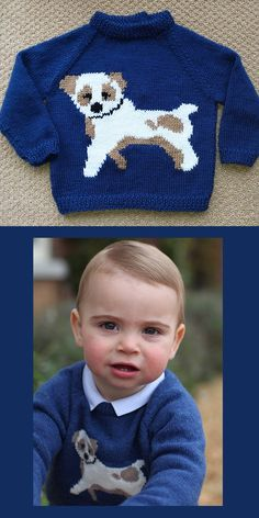 Knitting Pattern for Prince Louis Dog Sweater - Inspired by the puppy pullover j. Knitting Pattern for Prince Louis Dog Sweater - Inspired by the puppy pullover jumper worn by Prince Louis, Princess Kat. Baby Knitting Patterns, Baby Cardigan Knitting Pattern, Knitting For Kids, Baby Patterns, William And Kate Kids, Crochet Dog Sweater, Pull Bebe, Princess Kate Middleton, Baby Sweaters