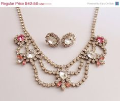 Vintage Rhinestone   necklace and earrings  by orlysvintageplace, $38.25
