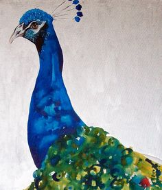 Shake Your Tail Feathers Peacock Painting by Jennifer Moreman