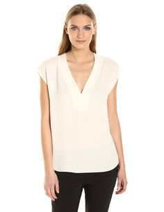 Theory Women's Orwin Classic Ggt Top, Ivory, S