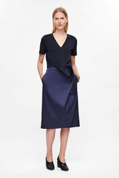 COS image 1 of Skirt with front drape in Navy