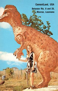 somewhere between Winchester and Front Royal, Virginia Rock N Roll, Roadside Attractions, Prehistoric Animals, Monster, Best Vacations, T Rex, Vintage Postcards, Sloth, Creepy