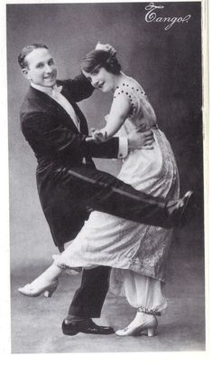 1908 - Tango dancers, the woman wears a pant under a dress #History #HistorySerendipity History 1900 - 1919