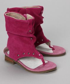 available now : Fuchsia Suede Rhinestone Sandal by L'Amour Shoes on zulily