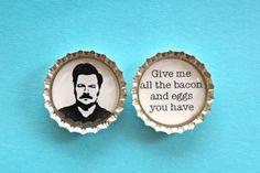 Ron Swanson Inspired Bottle Cap Magnet Bacon by snugabugblankets, via Etsy.
