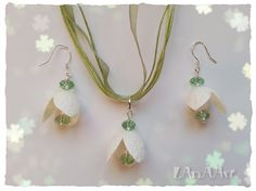 WHITE SNOWDROPS jewelry set of silk cocoons and by LanAArt on Etsy #snowdrops #challengeyourcreativity https://www.facebook.com/groups/1426448577629600/