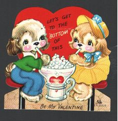 Vintage Valentines Card Dogs Sharing Ice Cream Soda 1956 Old Soda Shoppe Stools