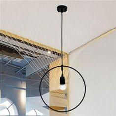 (EU Lager)Vintage Hängelampe Kreis Design aus Metall 1-Flammig