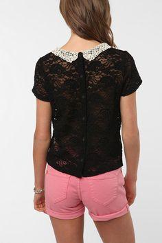 Kimchi Blue Pretty Crochet Collar Top  #UrbanOutfitters