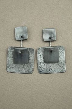 Holly Masterson double square earrings - silver by hester