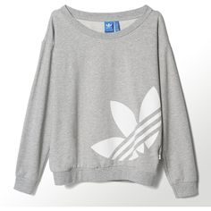 Adidas Light Logo Sweater ($45) ❤ liked on Polyvore featuring tops, sweaters, medium grey heather, logo sweaters, adidas, oversized sweater, grey crewneck sweater and oversized tops