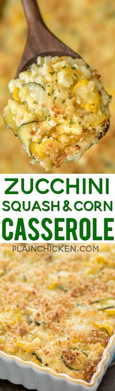 Zucchini Squash & Corn Casserole - our favorite side dish! Zucchini Squash Corn Onion garlic white cheddar cheese sour cream mayonnaise eggs breadcrumbs and parmesan cheese. Seriously THE BEST! Great make ahead side dish. Perfect for all your Side Dish Recipes, Vegetable Recipes, Vegetarian Recipes, Dinner Recipes, Healthy Recipes, Beef Recipes, Dog Recipes, Bariatric Recipes, Sausage Recipes