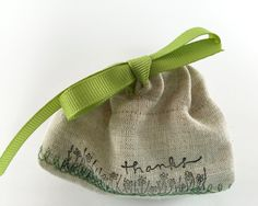 "Party Favor Bag - Stamped ""Thanks""- Green Embroidered  detail- Reusable Drawstring - Linen Look gifts, treats, jewelry and more! by SpanishVelvet on Etsy"