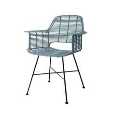 Prachtige industrial blauw rotan eetkamerstoel van sfeermaker HK-Living. De stoel heeft een sterk metalen frame, daar omheen is rotan gevlochten. Combineer de stoel met de andere kleuren uit de serie om een leuke setting te creëren.