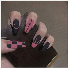Hippie Nails, Goth Nails, Edgy Nails, Grunge Nails, Blue Nails, Swag Nails, Edgy Nail Art, Acrylic Nails Coffin Short, Simple Acrylic Nails
