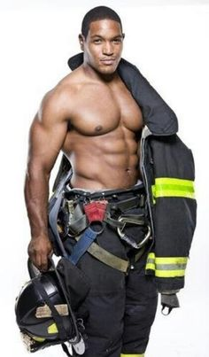 Firefighter... he is most likely another model. But...I just don't care. He stays, with the rest of the shirtless specimens.