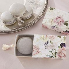 "English Garden Floral Favor Boxes  Measures: 1.2""L X 3.3""W X 2.4"" H.  Comes in sets of 24 for $24.95.  If buy more than 1 set the cost is lower"