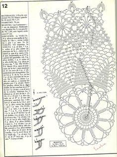 """Patrón de carpeta redonda Nº 12 Revista: """"Obras maestras de ganchillo"""" revista 1 Crochet Angel Pattern, Crochet Doily Diagram, Crochet Doily Patterns, Filet Crochet, Crochet Motif, Crochet Doilies, Crochet Books, Crochet Art, Thread Crochet"""