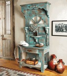 Mesa Verde Hall Tree Cabinet - Turquoise highlights add to the vintage southwest design of this ponderosa pine cabinet, while two shelves and a single drawer offer just the right storage to your entryway. Refurbished Furniture, Farmhouse Furniture, Repurposed Furniture, Rustic Furniture, Furniture Makeover, Cool Furniture, Living Room Furniture, Painted Furniture, Farmhouse Decor