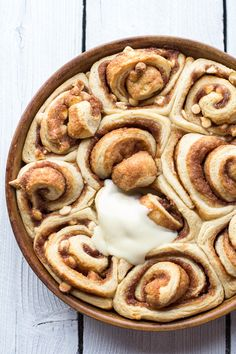 Eggnog Cinnamon Rolls | @hbharvest