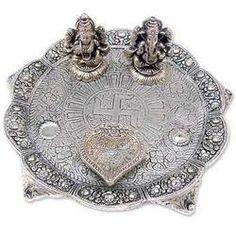 Laxmi Ganesh Small Thali : White Metal Thali