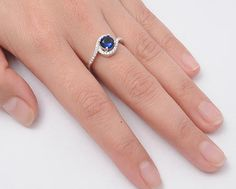 Sterling Silver Blue Sapphire Halo Ring