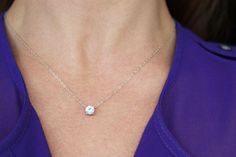 Floating Diamond Necklace CZ Necklace by BrightMomentsJewelry: $25.00