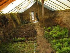 Walipini  http://www.treehugger.com/green-architecture/build-underground-greenhouse-garden-year-round.html