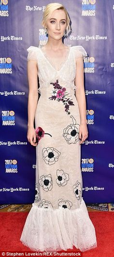 Lace dream: Lady Bird's Saoirse Ronan dazzled in a Rodarte gown for the special event, formed of delicate white lace and embroidered with black and pink flowers
