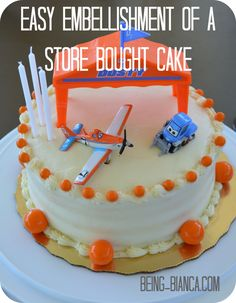 Embellish a basic homemade or store-bought cake with a few simple steps!  #planes #cake #party