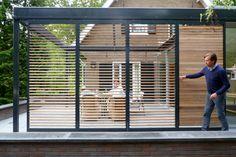 Wooden shutters you can open or close Outdoor Spaces, Outdoor Living, Outdoor Decor, Backyard Patio, Backyard Landscaping, Outdoor Shutters, Cedar Shutters, Wooden Shutters, Modern Pergola Designs