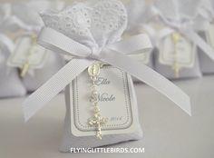 Lavender Sachet Favors with Rosary & White Ribbon - Baptism/Christening…