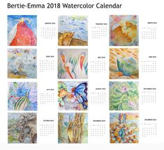 Calendar 2018 with my own watercolour  paintings, a little experiment to celebrate 2018