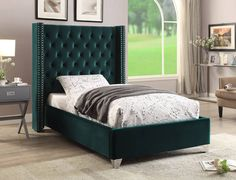 Shop Meridian Furniture Aiden Green Velvet Queen Bed with great price, The Classy Home Furniture has the best selection of Beds to choose from Velvet Upholstered Bed, Velvet Bed, Upholstered Platform Bed, Wingback Bed, Meridian Furniture, Green Bedding, Panel Bed, Cool Beds, Bed Sizes