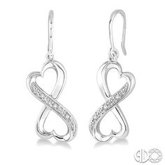 8c2a5bebd #Valentinesday2016 1/30 Ctw Heart Shape Round Cut Diamond Infinity Earrings  in Sterling Silver