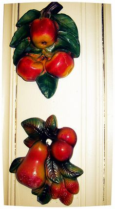 vintage fruit chalkware