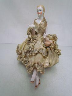 Stunning Art Deco Continental Porcelain ' Half Doll Pin Cushion Lady ' 15 | eBay