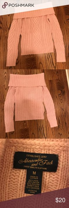 Abercrombie & Fitch Pink Off-the-Shoulder Sweater Gorgeous vintage Abercrombie & Fitch sweater. Off the should look very on trend for the fall, in a gorgeous pink color. This sweater is a size M, but is very small and fits more like an XS. Abercrombie & Fitch Sweaters Cowl & Turtlenecks