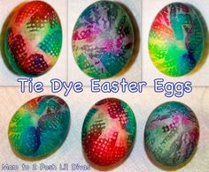 Tie Dye Easter Eggs - use dots of food coloring on napkin, spray with vinegar water and wrap egg. Place egg in plastic baggie,tie with rubber band  and let sit for a few hours.