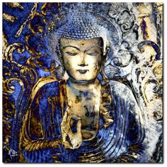 """""""Inner Guidance"""" - Blue and Brown Zen Buddha Art Tapestry """" by artist Christopher Beikmann of Fusion Idol Arts - polyester."""" The Buddha """"All experiences are preceded by mind, having mind a Buddha Kunst, Buddha Zen, Artist Canvas, Canvas Art, Canvas Size, Buddha Artwork, Buddha Canvas, Painting Prints, Venice"""