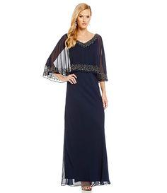 Jkara Beaded V-Neck Beaded Popover Gown