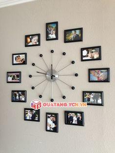 Đồng hồ treo tường kèm khung ảnh trang trí đẹp, sáng tạo