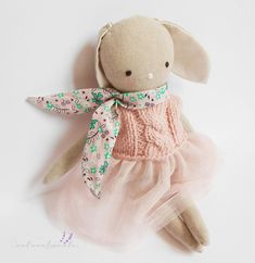 Lana linen bunny doll, Children's day for girl, fabric doll,pale pink girl nursery decor,handmade doll, dress doll,rag doll,textile doll