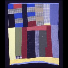 Quilt * 1974 Maker: Alberta Miller died 1999 America, Alabama, Dallas County  with irregular contours Wool, cotton, synthetic textiles. Rectangular quilt with irregular outlines, pieced together from plaid and solid textiles made of wool, cotton, and synthetics.